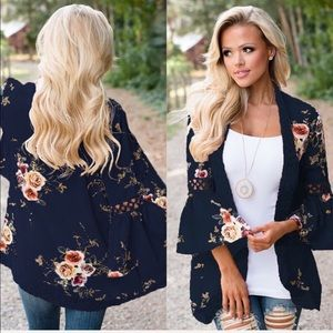 Other - Black Cover up florals belle sleeve kimono